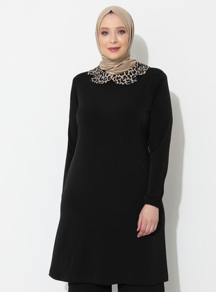 Black - Leopard - Round Collar - Viscose - Plus Size Tunic