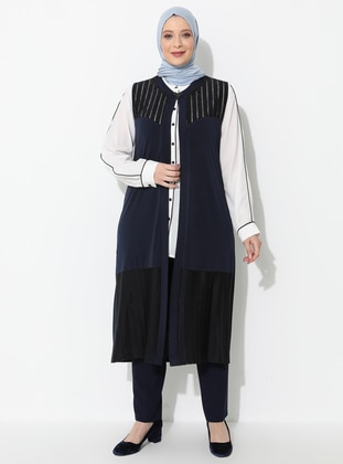 Navy Blue - Crew neck - Viscose - Plus Size Vest - Ferace