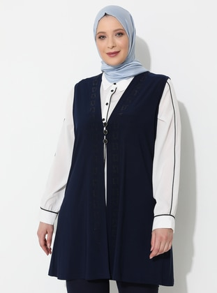 Navy Blue - V neck Collar - Viscose - Plus Size Vest - Ferace