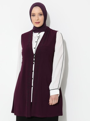 Plum - V neck Collar - Viscose - Plus Size Vest