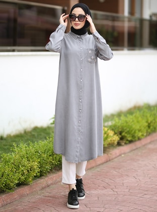 Gray - Point Collar - Denim - Tunic