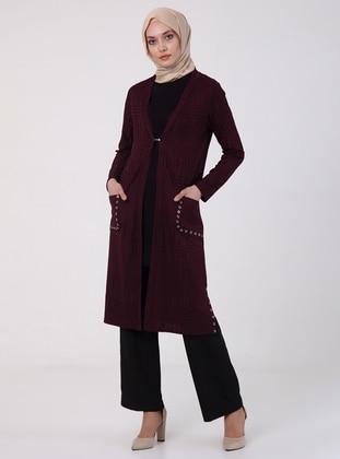 Purple - Unlined - V neck Collar - Jacket