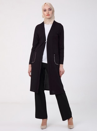 Plum - Unlined - V neck Collar - Jacket