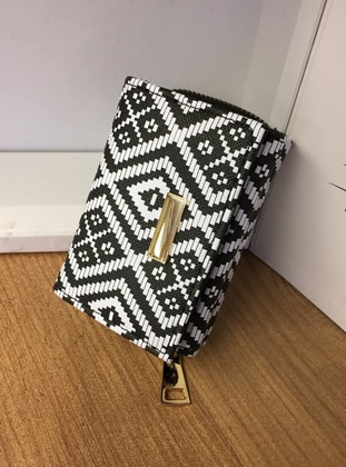 White - Black - Clutch - Wallet