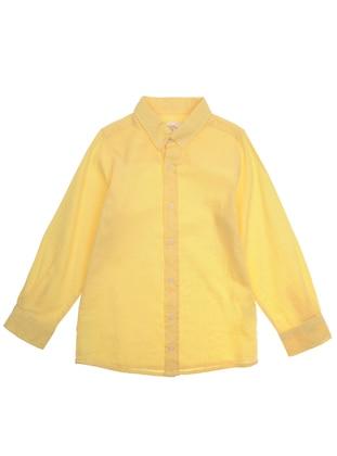 Point Collar - Linen -  - Yellow - Boys` Shirt
