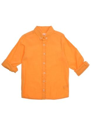 Point Collar - Linen - - Orange - Boys` Shirt - Panço