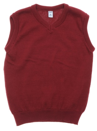V neck Collar - Maroon - Boys` Pullover