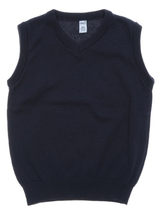 V neck Collar - Navy Blue - Boys` Pullover
