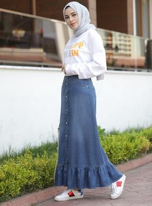 Blue - Unlined - Denim - Modal -  - Skirt