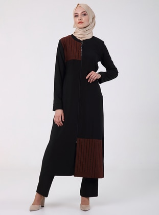 Terra Cotta - Crew neck - Unlined - Plus Size Abaya
