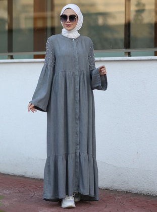 Gray - Crew neck - Denim -  - Abaya - Neways