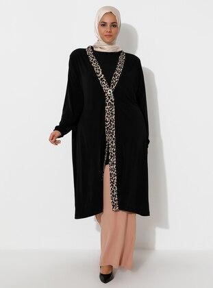 Black - Unlined - V neck Collar - Topcoat