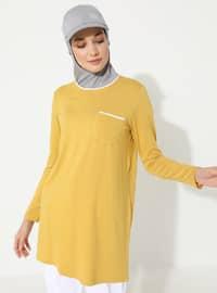 Yellow - Crew neck - Viscose - Tunic