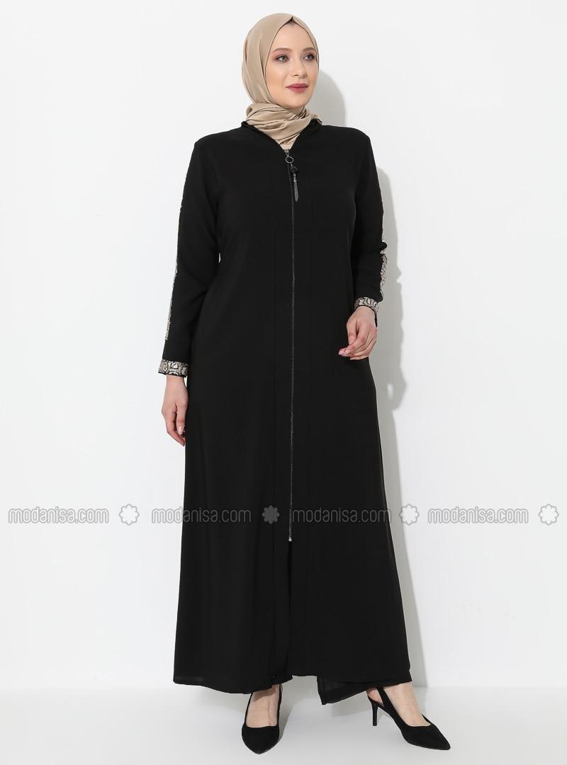 Gold - Cream - Black - V neck Collar - Unlined - Viscose - Plus Size Abaya