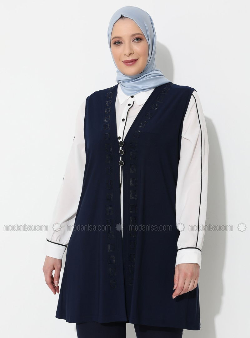 Navy Blue - V neck Collar - Viscose - Plus Size Vest