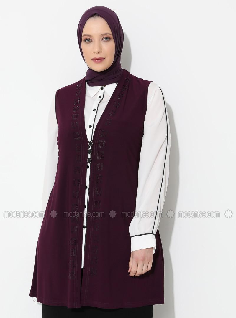 Plum - V neck Collar - Viscose - Plus Size Vest