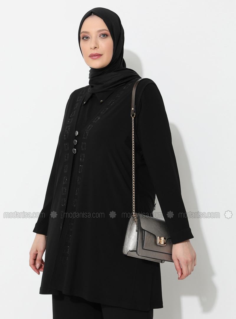 Black - V neck Collar - Viscose - Plus Size Vest