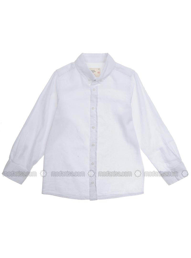 Point Collar - Linen - - White - Boys` Shirt
