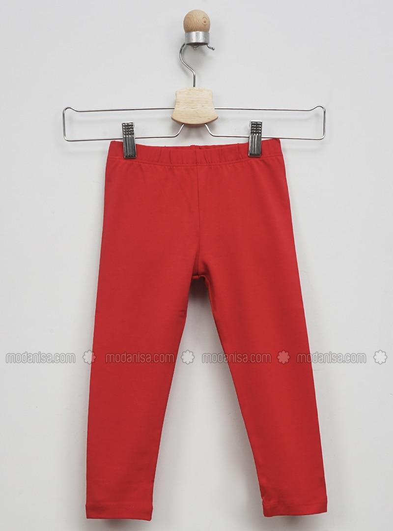 Red - Girls` Leggings