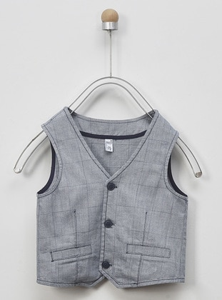 Checkered - V neck Collar -  - Blue - Boys` Vest