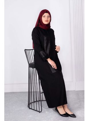Black - Plus Size Evening Abaya - BEHREM
