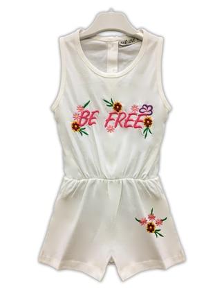 White - Crew neck -  - Girls` Salopettes & Jumpsuits