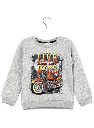 Crew neck -  - Gray - Boys` Sweatshirt