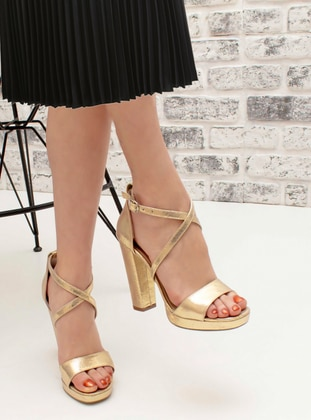 Gold - High Heel - Evening Shoes - Snox