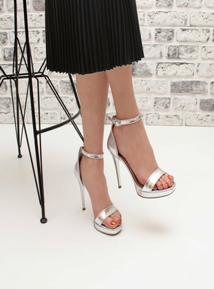 Silver tone - High Heel - Evening Shoes