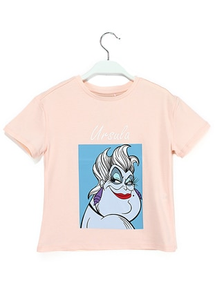 Crew neck -  - Salmon - Girls` T-Shirt