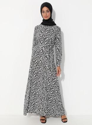 White - Black - Floral - Crew neck - Unlined - Dress