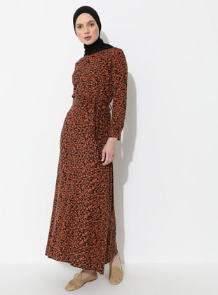 Black - Tan - Floral - Crew neck - Unlined - Dress