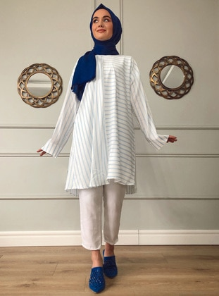 Blue - Stripe -  - Tunic