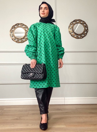 Green - Polka Dot -  - Tunic