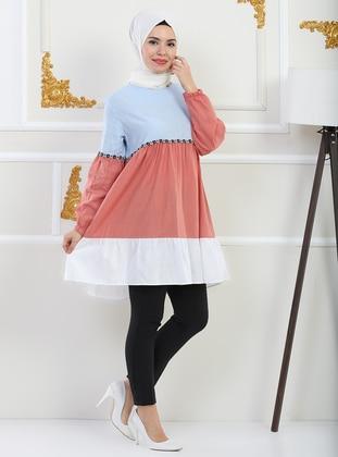 Blue - Linen - - Tunic