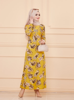 Mustard - Floral - Crew neck - Unlined - Crepe - Dress