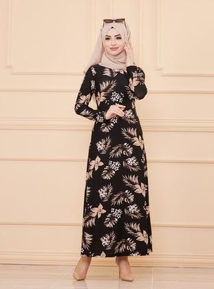 Black - Floral - Crew neck - Unlined - Crepe - Dress - Tofisa