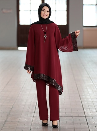 Maroon - Crew neck - Fully Lined - Chiffon - Plus Size Evening Suit - Rabeysa