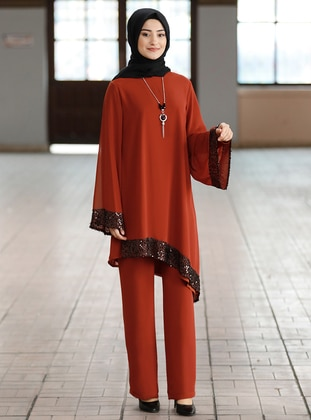 Terra Cotta - Crew neck - Fully Lined - Chiffon - Plus Size Evening Suit