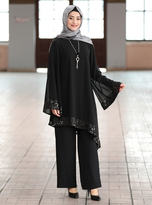 Black - Crew neck - Fully Lined - Chiffon - Plus Size Evening Suit - Rabeysa