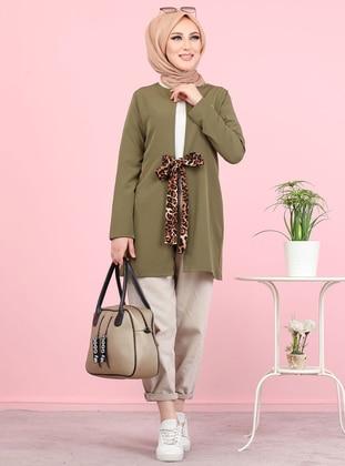 Khaki - Multi - Leopard -  - Tunic