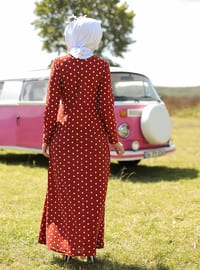 Terra Cotta - Polka Dot - Crew neck - Unlined - Dress