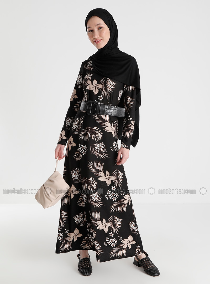 Black - Floral - Crew neck - Unlined - Crepe - Dress