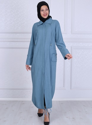Blue - Unlined - Point Collar - - Abaya