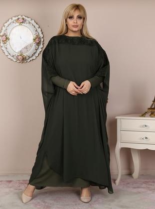 Khaki - Unlined - Crew neck - Viscose - Muslim Plus Size Evening Dress