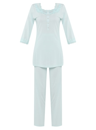 Sea-green - Modal -  - Combed Cotton - Maternity Pyjamas