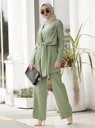 Unlined - Mint - Crew neck - Viscose - Evening Suit - Lavienza