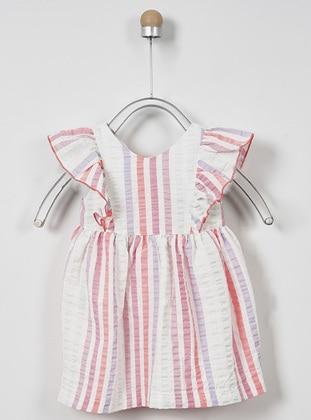 Stripe - Crew neck - - Unlined - Pink - Baby Dress