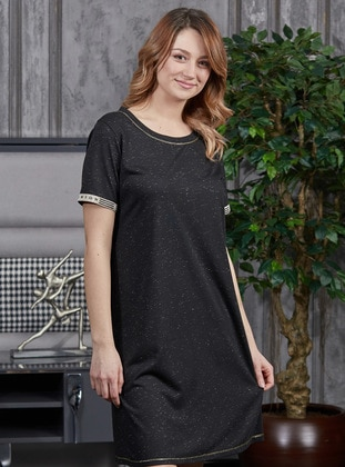 Black - Crew neck -  - Nightdress