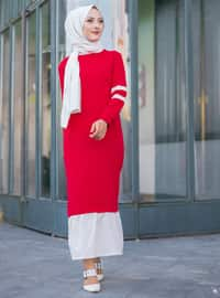 Red -  - Crew neck - Tracksuit Top -  Sports